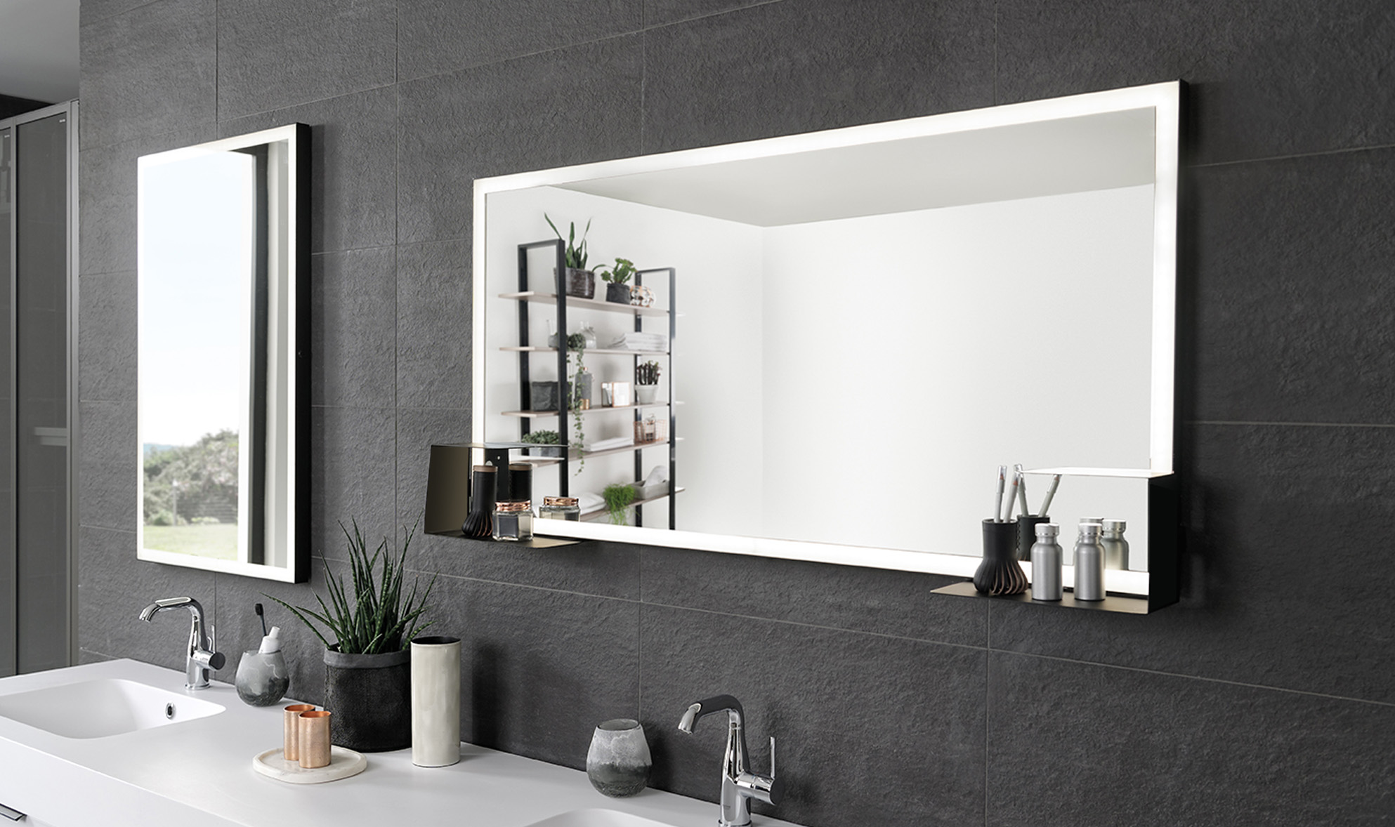 Rectangle mirror with shelves
